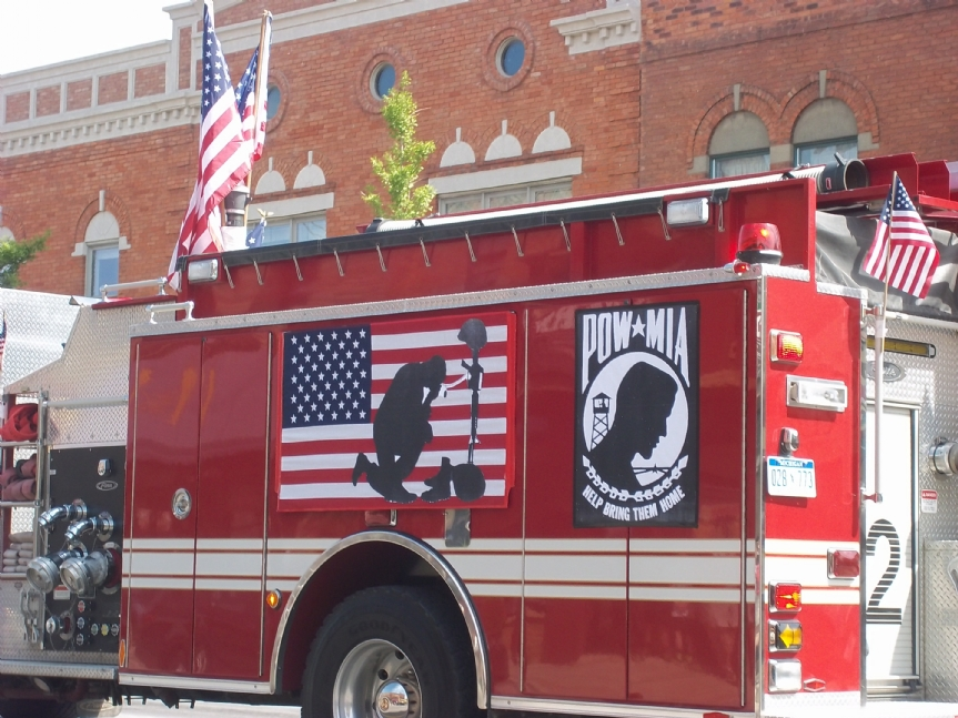 POW/MIA display on Oxford firetruck