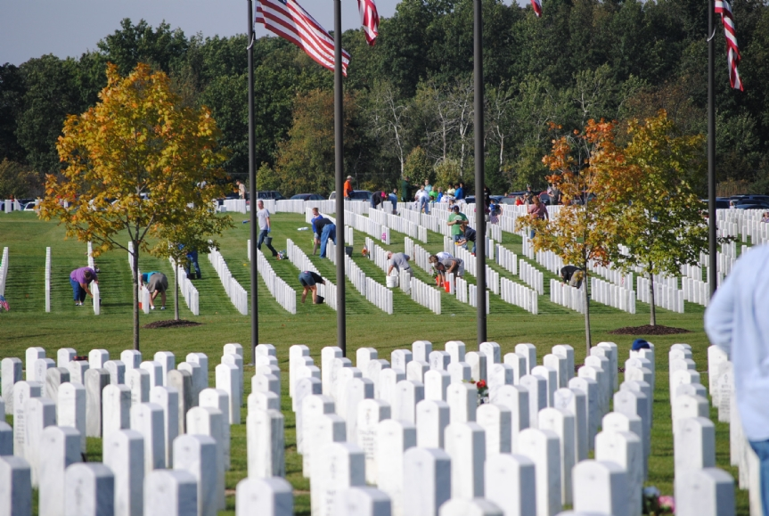 Gleaming headstones are the result of hard working volunteers at Great Lakes National Cemetery in Holly.