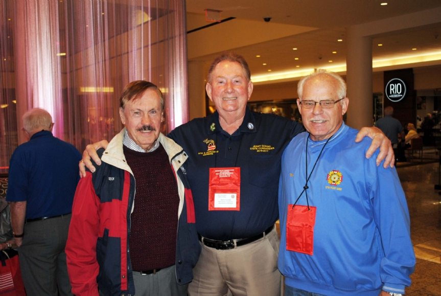 Past National Commander-in-Chiefs George Cramer and Tom Tradewell with Commander Gorski