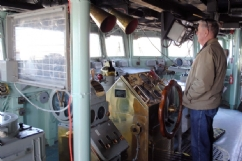 The Commander at his station on the USS Edson in Bay City.