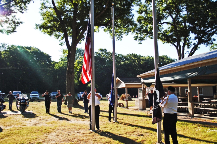 Raising the Colors at Camp Trotter